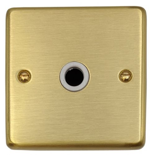 G&H CSB35W Standard Plate Satin Brushed Brass 1 Gang TV Coax Socket Point